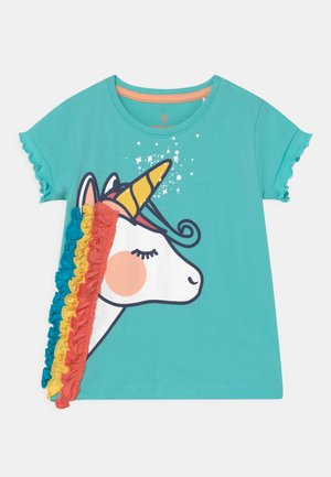 SMALL GIRLS  - Print T-shirt - aqua sky