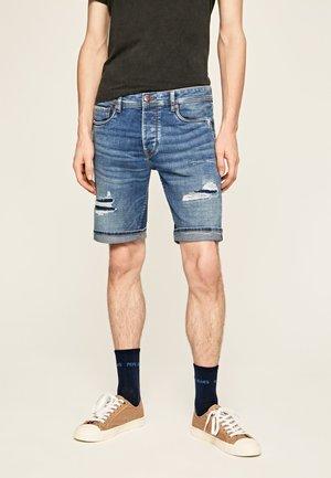 STANLEY SHORT DARN - Szorty jeansowe - blue denim