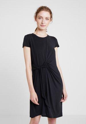 ASYM SIDE TIE DRESS - Jersey dress - rich black