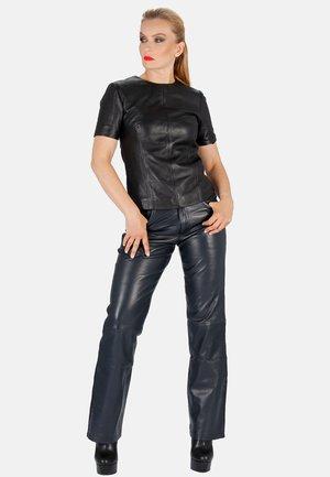 Leather trousers - dunkelblau
