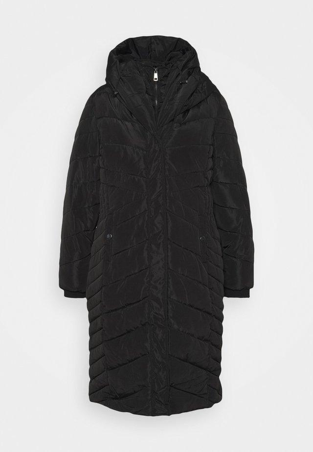 PILLOW COLLAR DOUBLE LAYER COAT - Parkaer - black