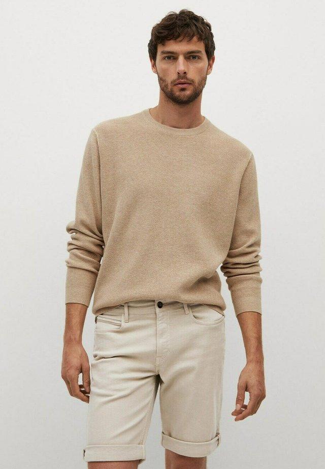 Denim shorts - open beige