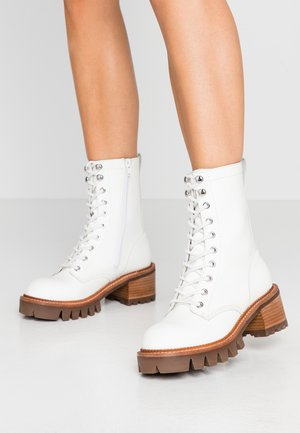 SYCAM - Platform ankle boots - white/natural