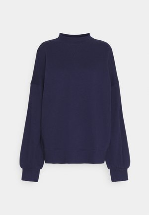 High Neck Puff Sleeve Sweatshirt - Sweater - dark blue