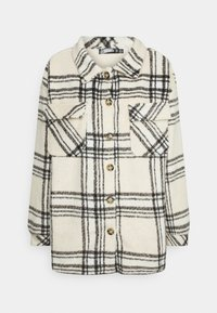 Missguided - OVERSIZED CHECK SHACKET - Summer jacket - ecru - 0
