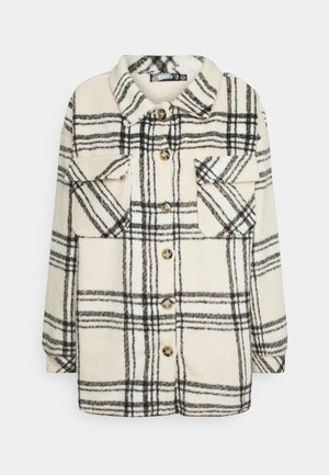 OVERSIZED CHECK SHACKET - Summer jacket - ecru
