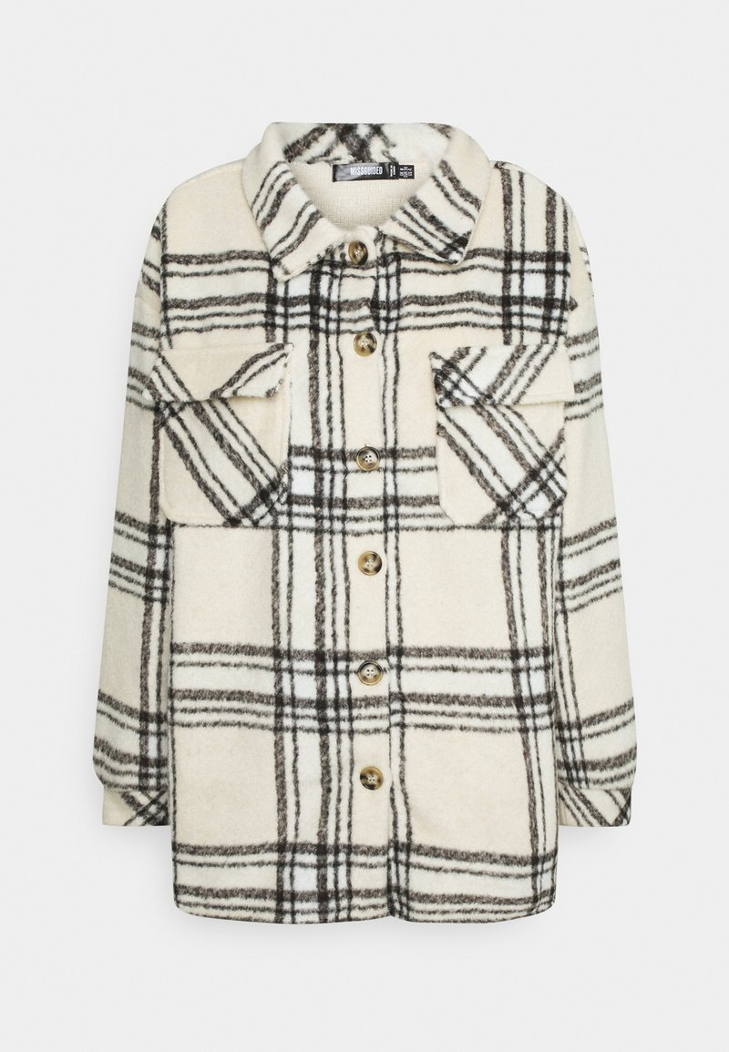 Missguided - OVERSIZED CHECK SHACKET - Summer jacket - ecru