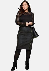 Sheego - Pencil skirt - black denim - 1