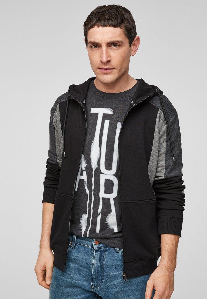 Q/S designed by - Zip-up sweatshirt - black