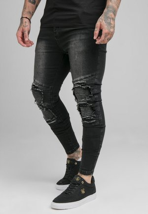 BIKER - Vaqueros pitillo - washed black