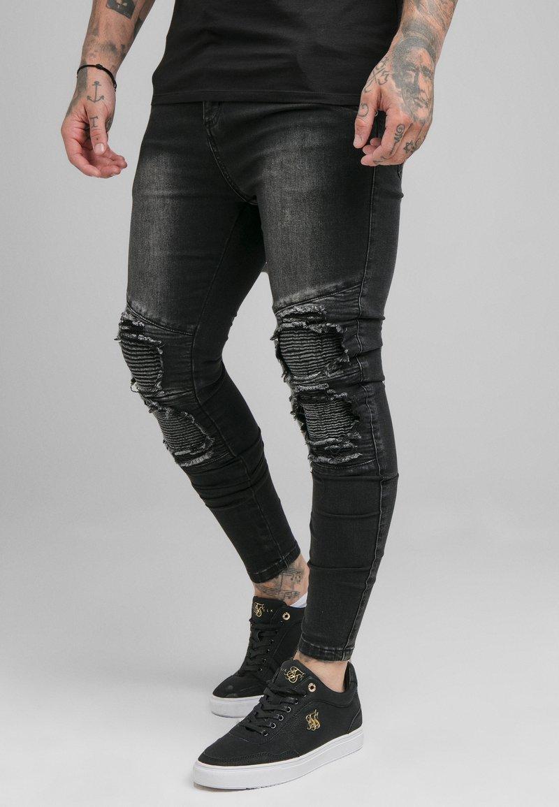 SIKSILK - BIKER - Skinny-Farkut - washed black