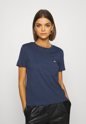 REGULAR C NECK - T-shirts - blue