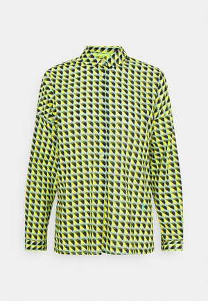 Button-down blouse - khaki/lime