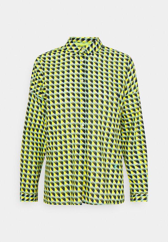 Button-down blouse - khaki/lime