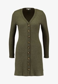 BUTTON THROUGH WAFFLE DRESS - Strikkjoler - olive