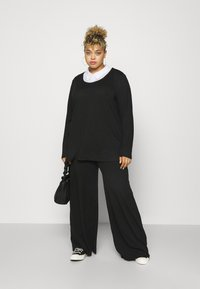 Missguided Plus - WID LEG TROUSER - Trousers - black - 1