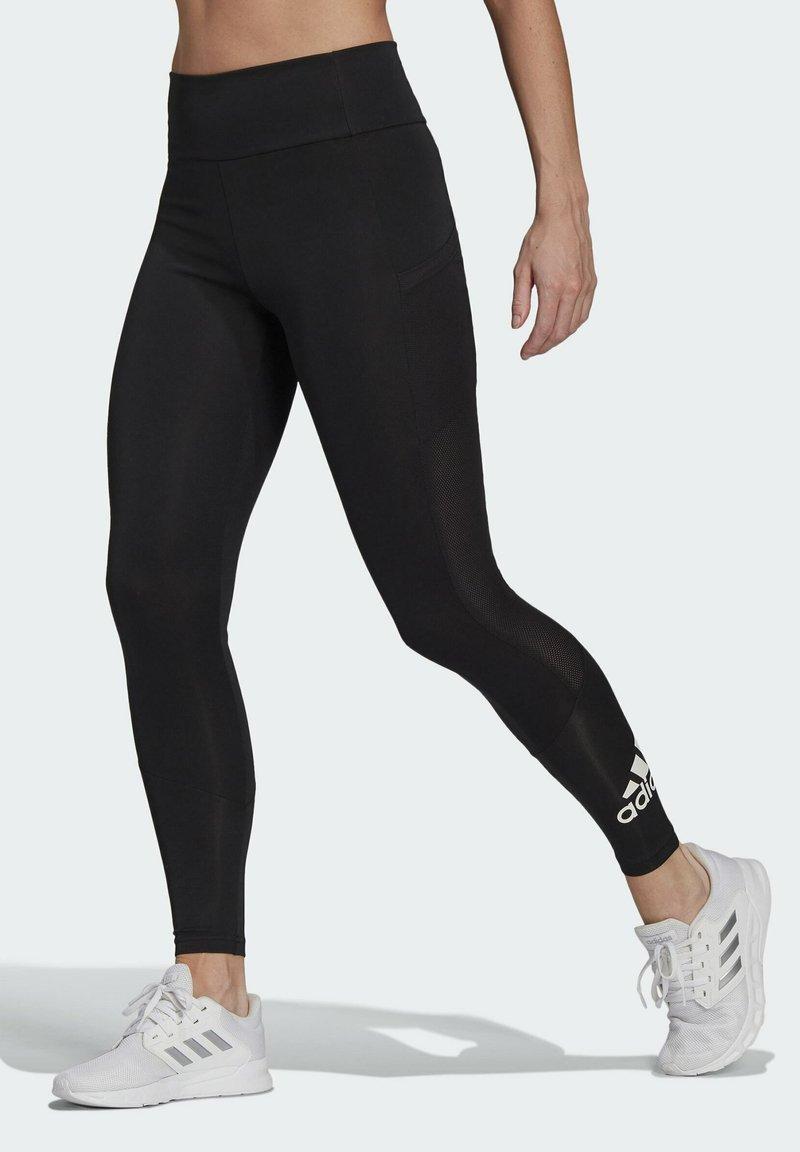 adidas Performance - DESIGNED TO MOVE BIG LOGO SPORT LEGGINGS - Collants - black