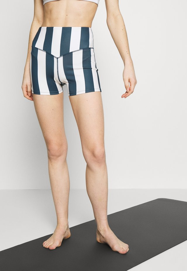 STRIPED RUNNING SHORTS - Leggings - blue