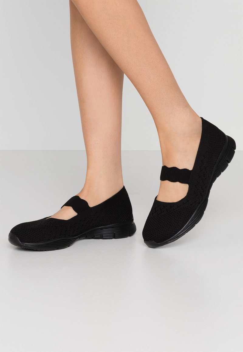 Skechers - SEAGER - Ankle strap ballet pumps - black