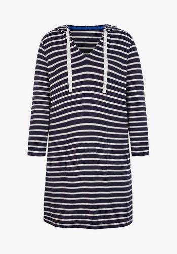 MIT KAPUZE - Jersey dress - französisches navy/naturweiß, gestreift
