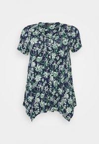 AZTEC PINTUCK TOP - Print T-shirt - navy