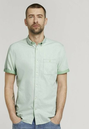 Shirt - green white two face twill