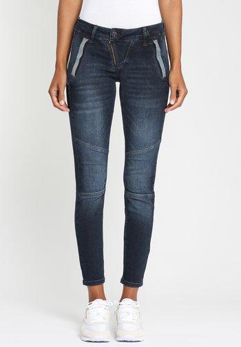 NELE BIKER - Jeans Skinny Fit - dark blue denim
