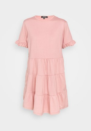 FRILL SLEEVE TIERED SMOCK DRESS - Jerseykjole - blush