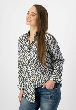 Button-down blouse - olive, white