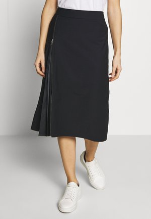 ZIP PLISSEE SKIRT   - A-line skirt - dark blue