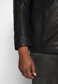 TOM TAILOR MEN PLUS - BIKER JACKET - Faux leather jacket - black - 4