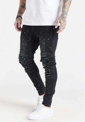 RIOT BIKER - Skinny-Farkut - washed black