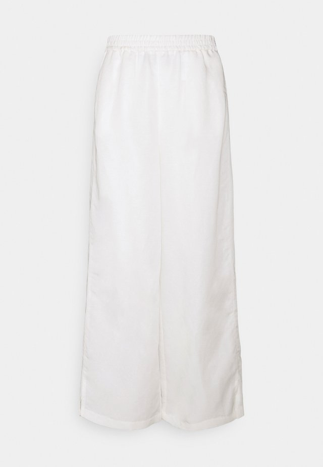 WIDE LEG PANTS ELASTIC WAISTBAND - Kangashousut - off-white