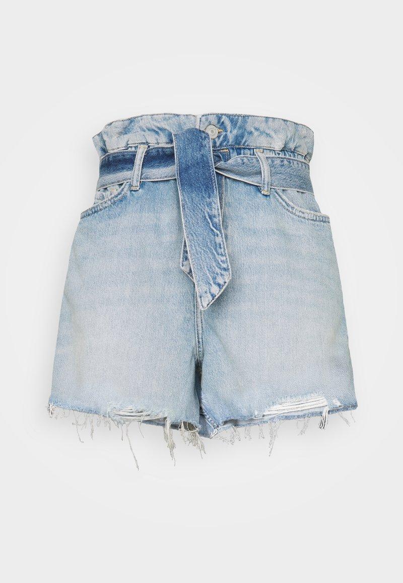 AllSaints - HANNAH PAPERBAG - Denim shorts - mid indigo