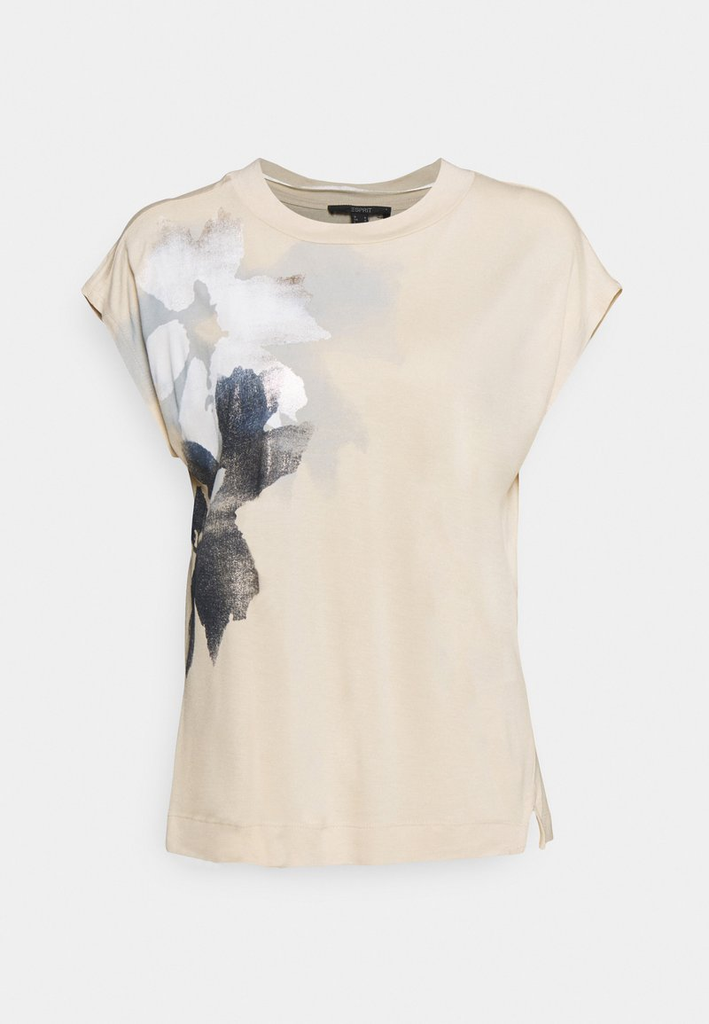 Esprit Collection - FLOWER LEAF TEE - Print T-shirt - cream beige