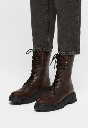 Lace-up boots - dk brown/black