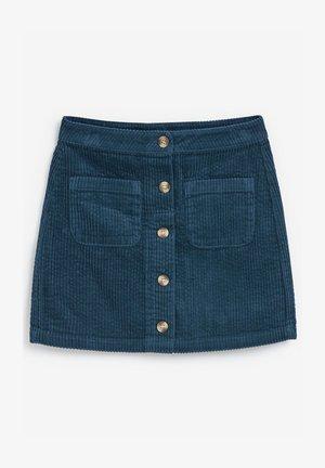 BUTTON THROUGH CORD - A-line skirt - blue