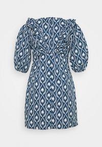 Glamorous Curve - PLEATED RUFFLE MINI DRESSES  - Robe d'été - navy/white - 1