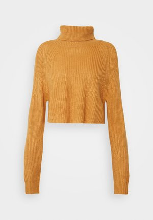 ROLL NECK BATWING CROP JUMPER - Jumper - camel