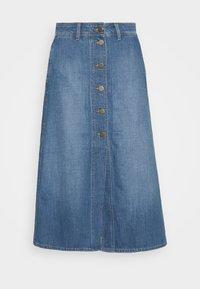 BUTTON THROUGH - Denim skirt - mid wick