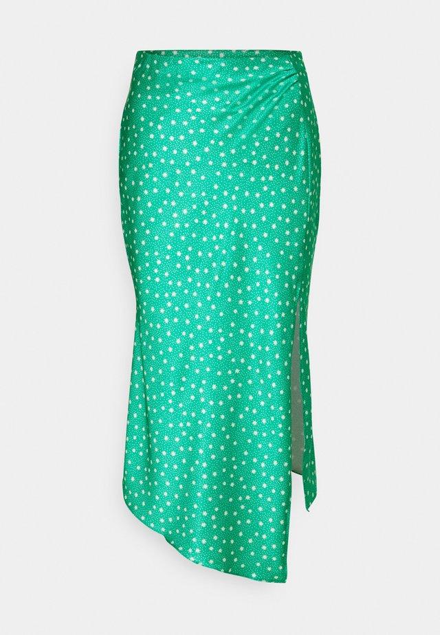 MIDI SKIRT WITH SIDE SPLIT - Pencil skirt - green ditsy