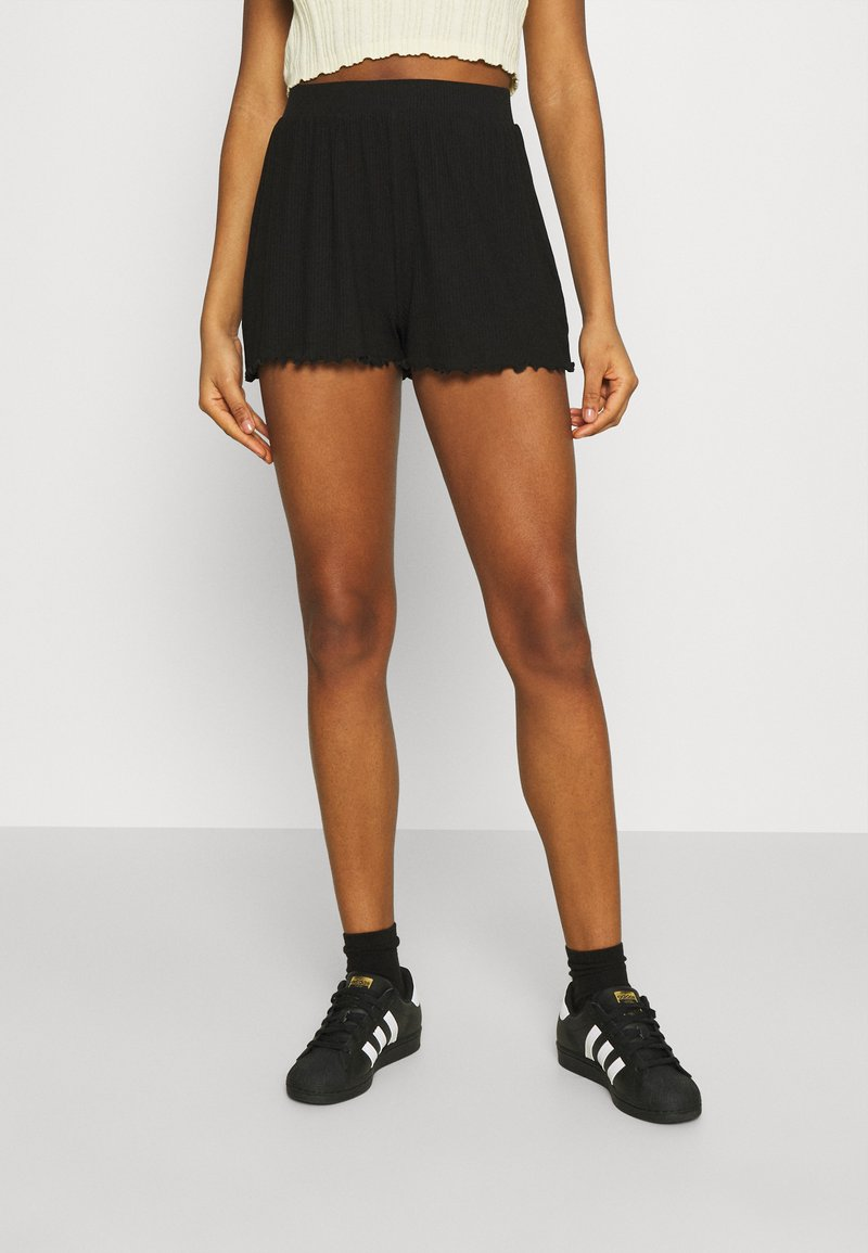 Even&Odd - Lettuce Hem Shorts - Shorts - black