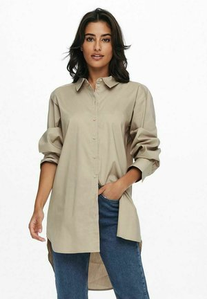 JDYMIO  LONG - Button-down blouse - simply taupe