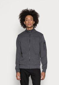 Calvin Klein - TEXTURE BLOCK ZIP JACKET - Mikina na zip - dark grey heather - 0