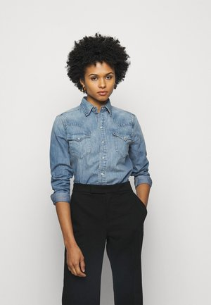 WESTERN LONG SLEEVE - Button-down blouse - light indigo