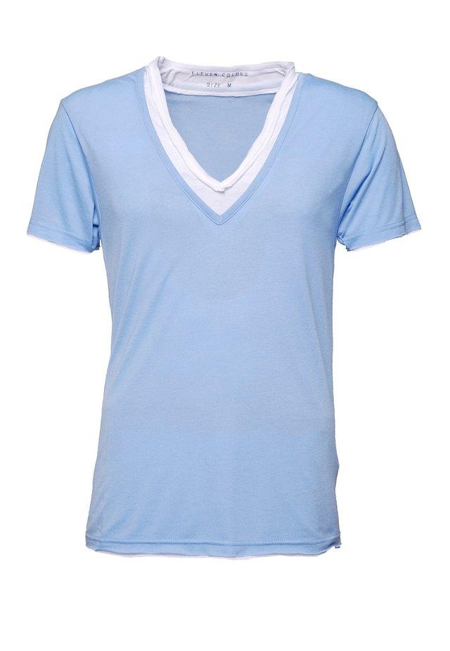 L2 BASIC DOUBLE V NECK - T-shirt basique - azur