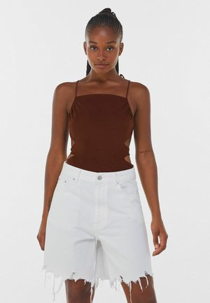 WITH LACE-UP BACK  - Top - brown