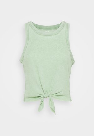 CROPPED TIE FRONT TANK - Top - kenya green