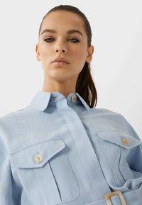 Stradivarius - LANGE LYOCELL - Shirt dress - light blue - 3