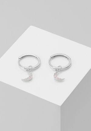 MYSTIC MOON PENDANT EARRINGS HOOPS - Earrings - silver-coloured
